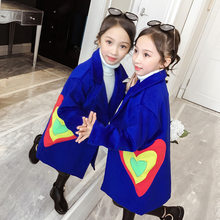 Girls Winter Coat 2019 New Fashion Autumn Heart Pattern Woolen Teenage Girl Jacket Clothing Thick Warm Outerwear