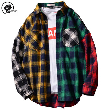 Little Raindrop Men Long  Checked Shirt In Regular Shirt With Turn-Down Collar Patchwork  Long Sleeve Shirt Fashion Streetwear checked knot front shirt