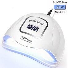 80 w sunx5max uv lâmpada led 45 pces led secador de unhas para todos os gel polonês dupla potência de secagem rápida com sensor automático manicure salão de beleza lâmpada