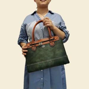 Image 2 - 2019 Nieuwe vrouwen Handtas Vintage Echt Lederen Dames Schoudertassen Luxe Grote Capaciteit Tote Zakenreis Messenger Bag