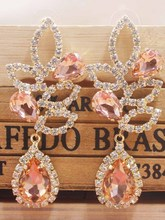 Beautiful rose gold wedding /party earring silver shiny women champagne Zerong new rhinestone