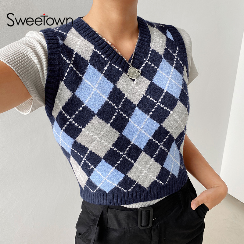 Sweetown Argyle Plaid Knitted Tank Top Female Knitwear Preppy Style Y2K Clothes V Neck Casual Crop Sweater Vest 90s Streetwear 1