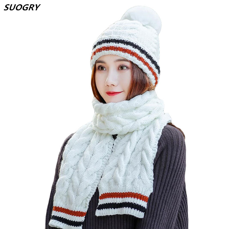 SUOGRY Thick Scarf Hat Set Women Winter Warm Knitted Beanie and Ladies Windproof Accessories