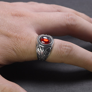 Image 5 - Real 925 Sterling Silver Jewelry Vintage Rings For Men Engraved Flowers With Red Garnet Natural Stone Fine Jewellery