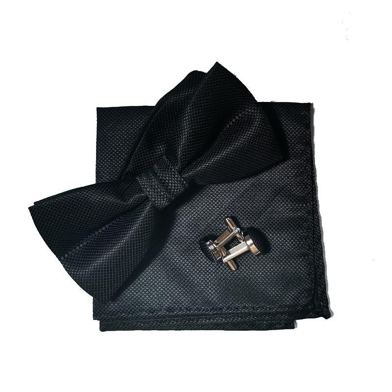 fluga set näsduk manschettlänk svart fluga klänning skjorta - Kläder tillbehör - Foto 3