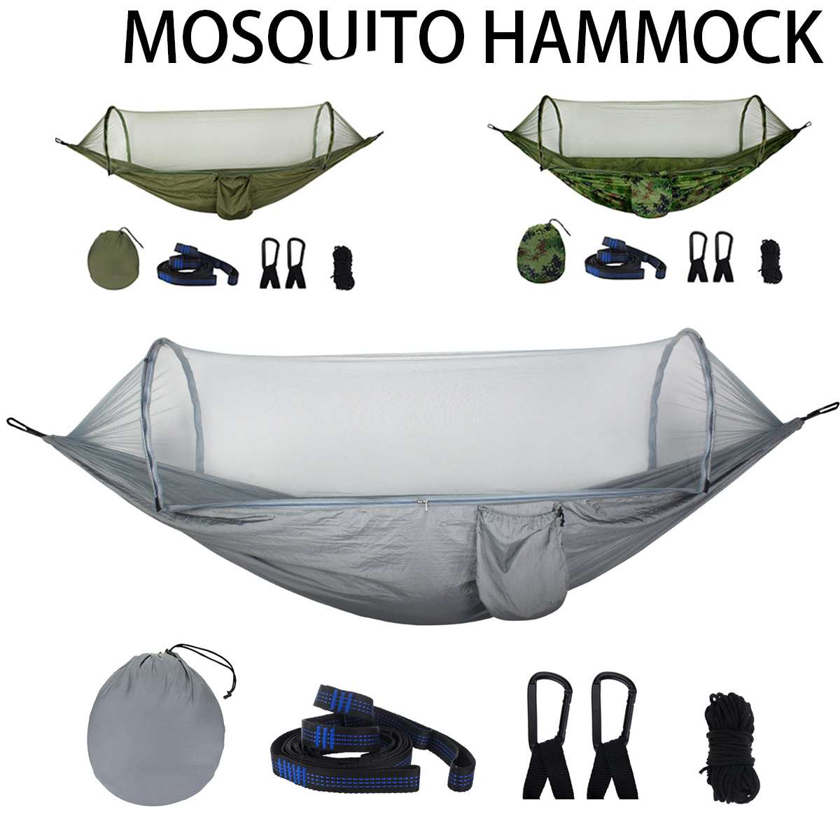 Auto Jungle Hammock With Mosquito Net Outdoor Camping Travel Parachute Hanging Bed Tent Hunting Sleeping Swing Army 1-2 Person
