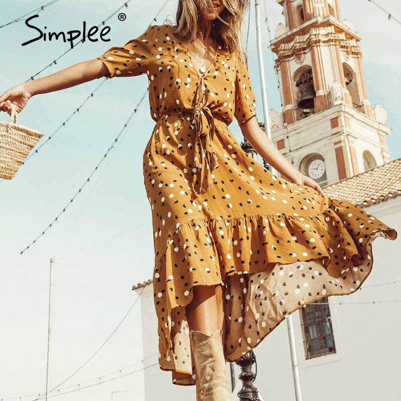 Simplee Polka dot women dress Ruffled short sleeve v neck long boho dress Summer puff sleeve button bow holiday party midi dress
