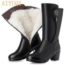 AIYUQI 2020 nuovi stivali da donna in vera pelle di lana stivali da neve invernali caldi spessi di grandi dimensioni 41 42 43 stivali da moto da donna