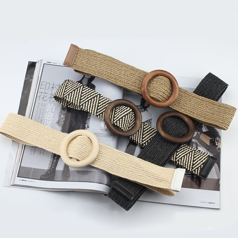2020 High Quality Wood Buckle Linen Braided Elastic Wide Belt Women Men Woven Belt Summer Dress Jeans Stripe Waistband Gifts