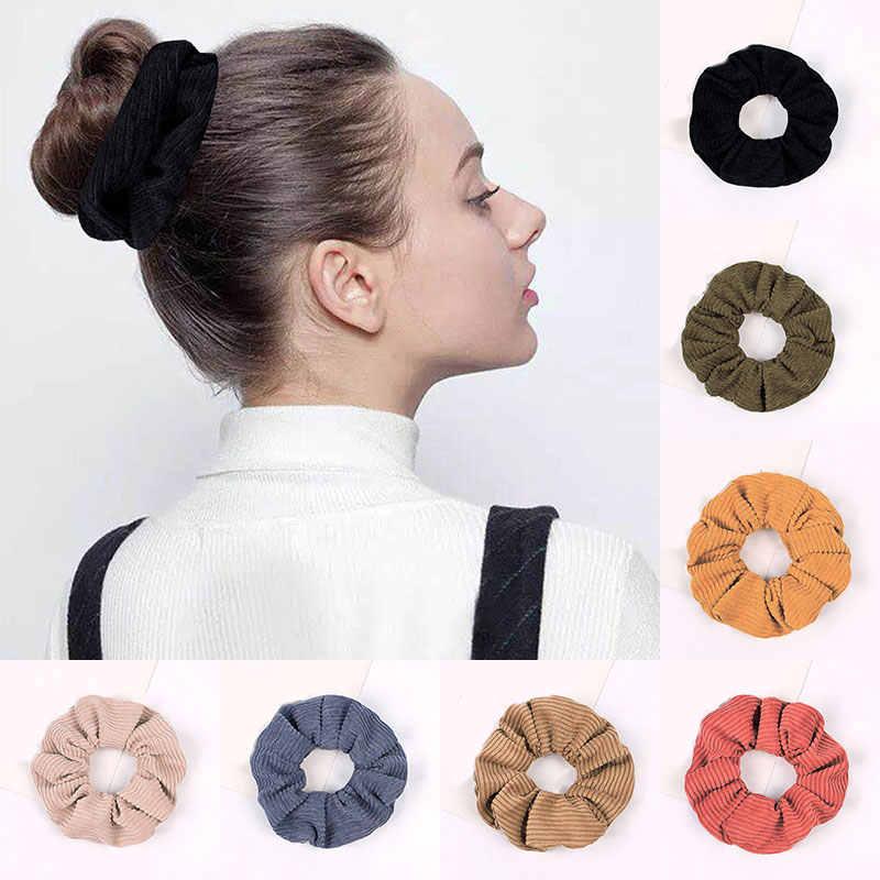 2020 Nieuwe Effen Kleur Corduroy Streep Haar Chouchou Elastische Haarbanden Koreaanse Haaraccessoires Voor Vrouwen Meisjes Paardenstaart Hoofddeksels