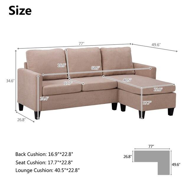 Double Chaise Longue Combination Sofa Beige Model Room Sofa Set  (194 x 126 x 89)cm for Livingroom 4
