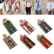 Детский модный однотонный на брительках, ошейник с бантиком, эластичный подвесной зажим для штанов, Свадебный комплект для малышей