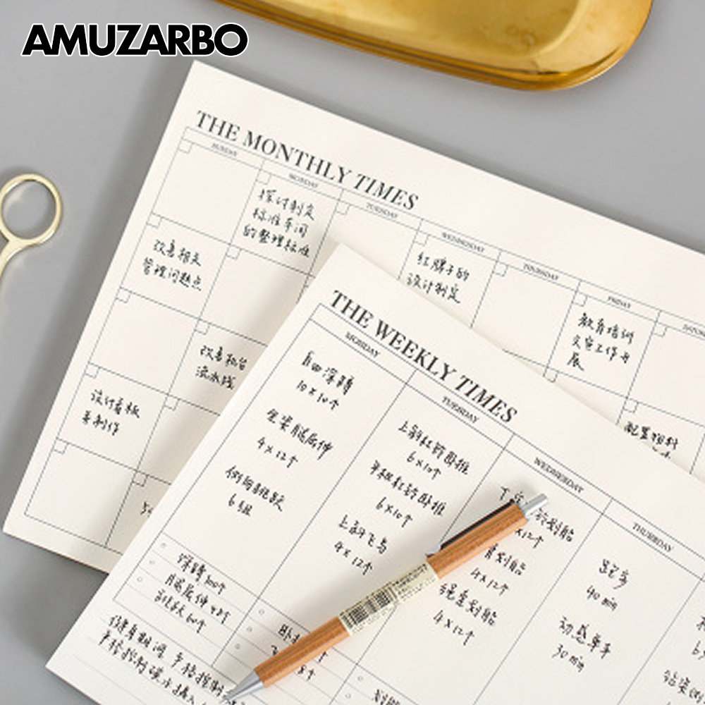 Simple Grid Planner Notepad Weekly Monthly Diary Agenda Memo Pads Work Learn Organizer Planner Office Supplies 24.5x17.5cm