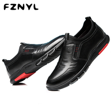 FZNYL Mens Casual Genuine Leather Shoes British Style Autumn Comfortable Non-slip Sneaker for Business Men Classic Office Scarpe new fashion casual men shoes flats loafer sneaker style comfortable classic slip leather snakeskin pattern simple style