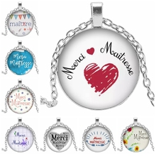 Good-looking French Merci Maitresse Pattern Glass Cabochon Necklace Birthday Present