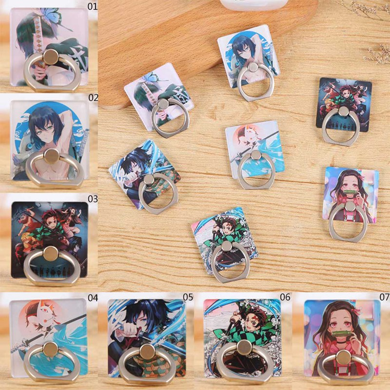 New Acrylic Cartoon  Demon Slayer Kimetsu No Yaiba Blade Of Ghost Cute Mobile Phone Ring Bracket For IPhone 11 Pro For Xiaomi