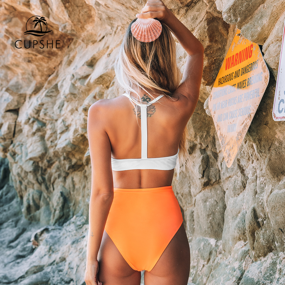 CUPSHE Solid White Bikini with Orange High-Waisted Bikini Sets Sexy Swimsuit Two Pieces Swimwear Women 2020 Beach Bathing Suits 2