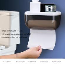 New Plastic Toilet Paper Holder Bathroom Double Paper Tissue Box Wall Mounted Paper Shelf Storage Box Toilet Dispenser