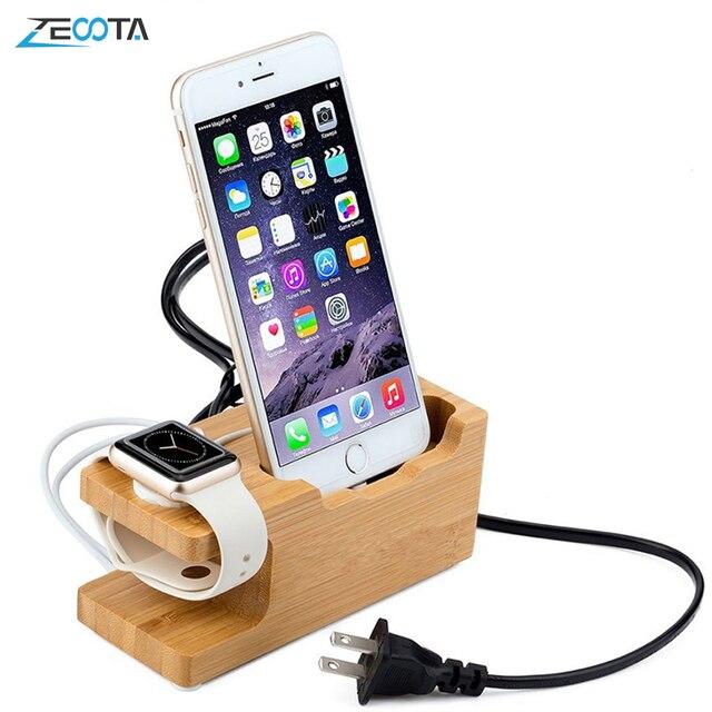 Multi Estación de carga USB con acoplamiento de madera de bambú, 3 puertos, soporte de montaje de cargador de teléfono móvil para Apple Watch iPhone X/8/8Plus/7Plus
