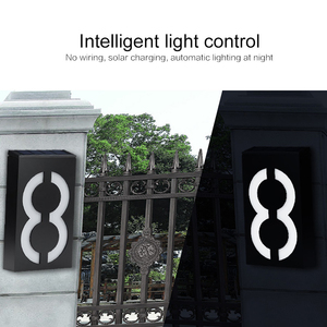 0.36W Solar Power LED Number Sign Light House Hotel Door Digits Plate Plaque Exterior Wall Light Outdoor Wall Solar LED Light