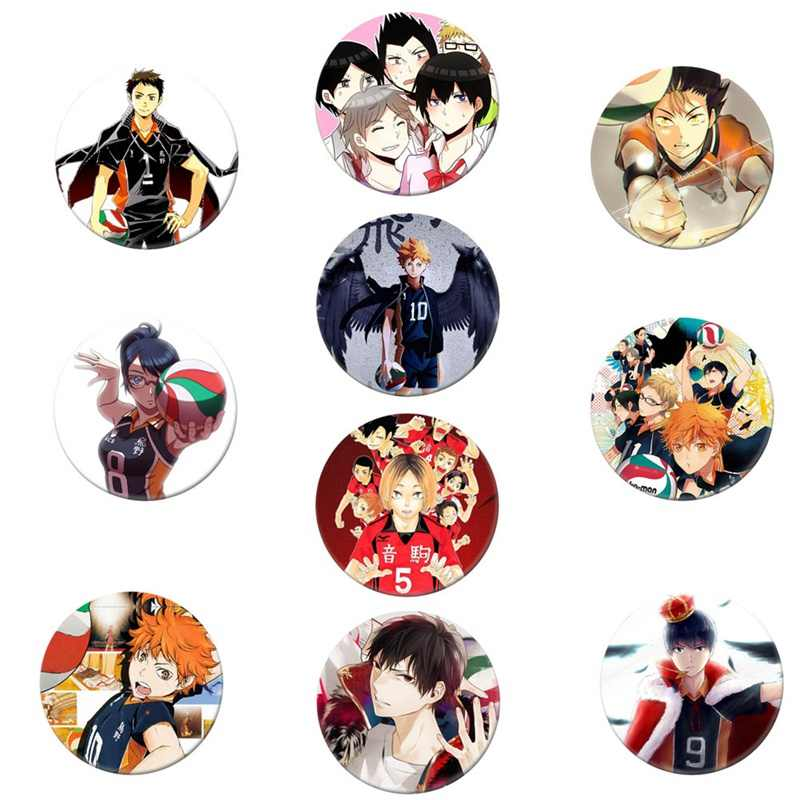 Manga Haikyuu!! Odznaki Cosplay Hinata Shoyo broszka przypinki 58mm japonia kolekcja Anime odznaka na plecaki ubrania