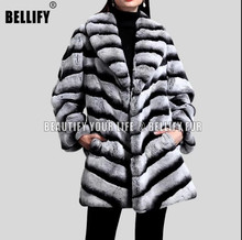 Top quality Genuine Rex Chinchila Rabbit Fur coats WITH big collar luxury outerwear
