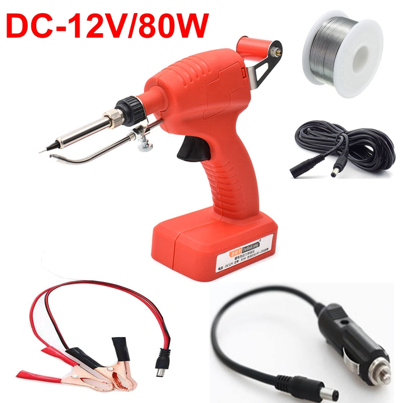 DC 12V 80W Portable Low Voltage Soldering Iron Electric Soldering Iron Car Battery Welding Repair Tool