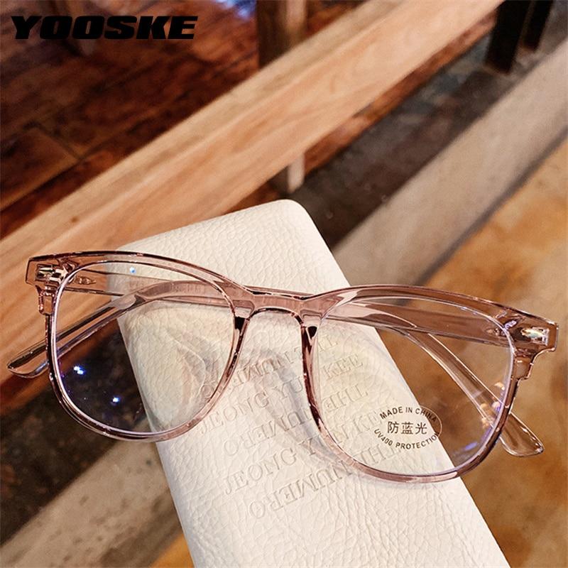 YOOSKE 2020 Fashion Anti Blue-ray Glasses Frame Blue Film Eyeglasses TR90 Optical Spectacles Computer Gaming Eyewear