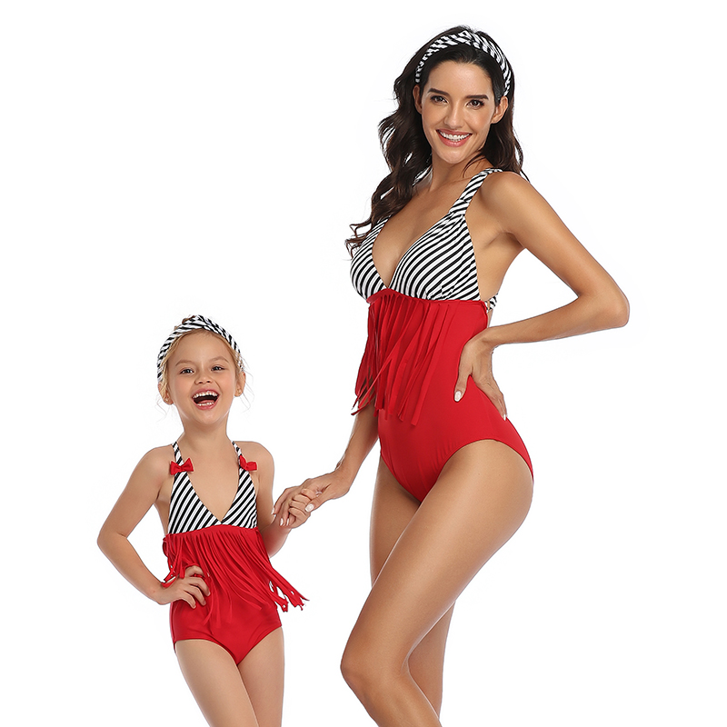 Tassel Striped Mother Daughter Swimwear One-Piece Mommy And Me Swimsuit Family Look Mom Mum And Baby Matching Dresses Clothes