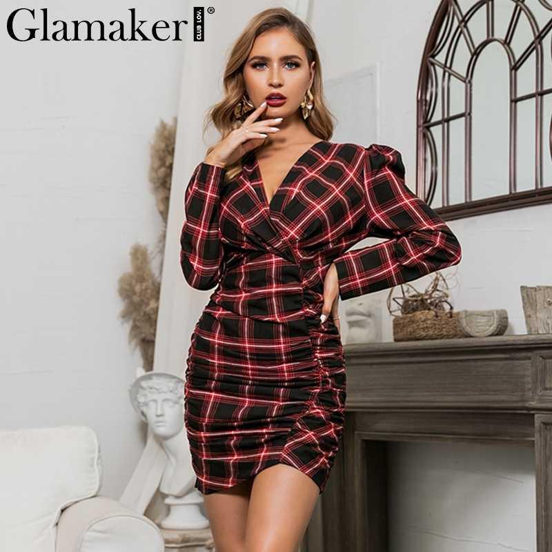 Glamaker V шеи клетчатое сексуальное облегающее платье женское осеннее Плиссированное элегантное мини-платье Вечерние Клубные пышные рукава Женская короткая ночная сорочка