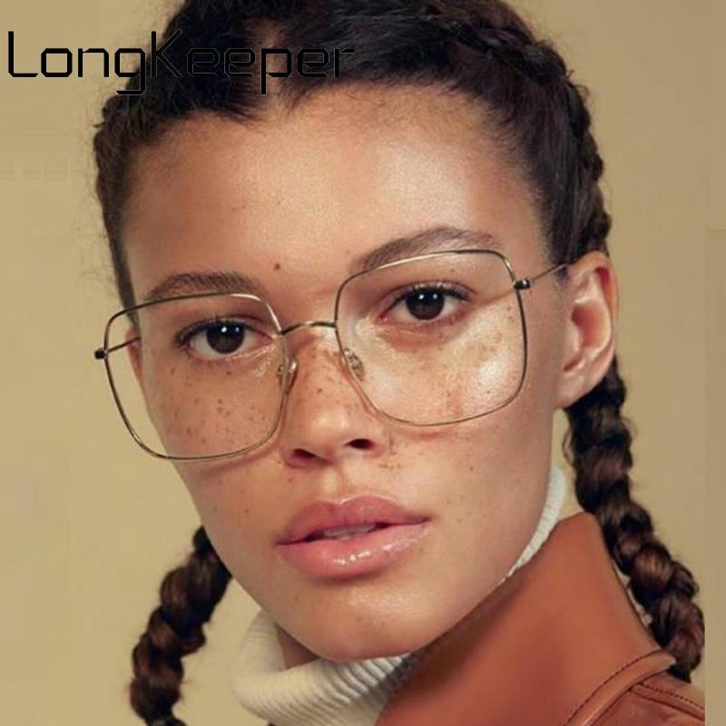 Vintage Oversized Square Glasses Frame Women Men Stylish Metal Clear Lens Eyeglasses Ladies Black Gold Silver Optical Spectacles