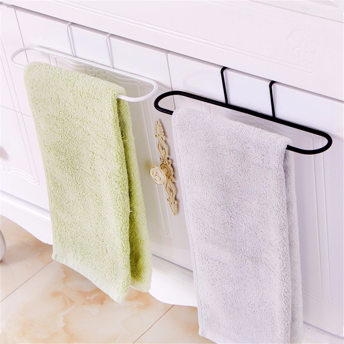 Towel Holder Kitchen Multi-Purpose Towel Rack Cabinet Cupboard Door Back Wipe Hanger Bathroom Towel Bar