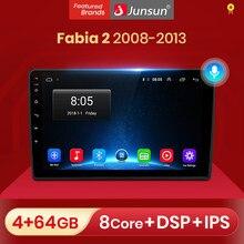 Junsun-Radio Multimedia V1 con GPS para coche, Radio con reproductor, Android 10,0, DSP, CarPlay, estéreo para coche, 2 din, dvd, para Skoda Fabia 2