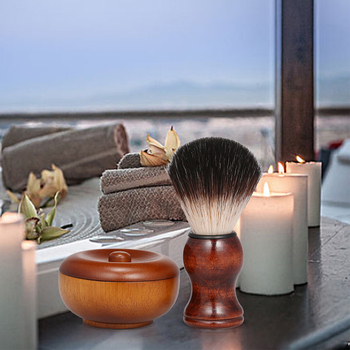 Men's Manual Beard Care Set Facial Care Wood Shaving Kit Beard Brush Home Bathroom Grooming Tool 2