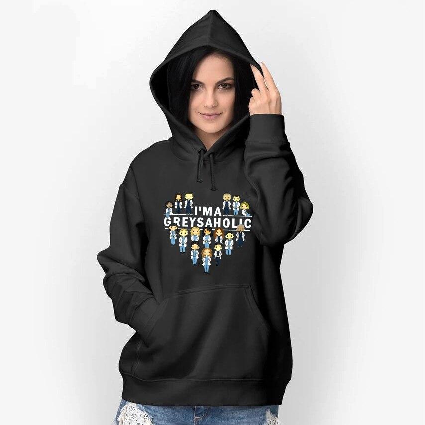 Greys Anatomy Harajuku Hooded Pullovers Boys Girls Hip Hop Sportswear Unisex Streetwear Sweatshirts Women Men Cotton Hoodies