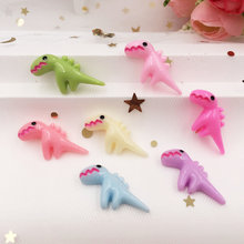 20PCS Hand Painted Resin Mix Kawaii Colorful Mini Baby Dinosaur Flatback Cabochon Stone Scrapbook DIY Decor Home Figurine F770(China)