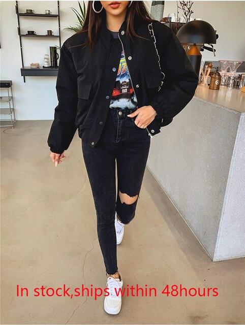 Mozuleva 2019 Sexy de alta borla cintura vaqueros pantalones vaqueros con agujeros Mujer Pantalones lápiz mujer Skinny pantalones vaqueros negros 6