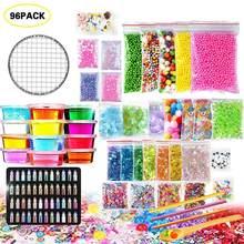 96 Pack zestaw do produkcji szlamu styl liter szlam dostarcza kolorowa pianka kulki papier do cukierków koraliki polimerowe Fishbowl DIY szlam zestaw zabawek