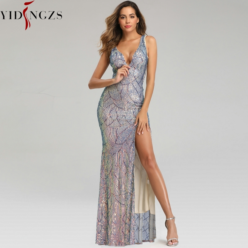 YIDINGZS Slit Sexy Sequins Evening Dress Womens V-neck Backless Beading Long Party Dress YD16536