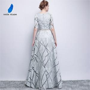 Image 2 - DEERVEADO YS406 긴 댄스 파티 드레스 정장 드레스와 짧은 소매 댄스 파티 드레스 여성 이브닝 드레스