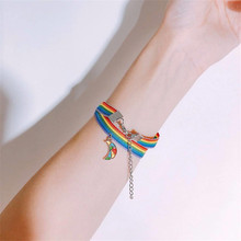 Moon Rainbow – Bracelets unisexe pour femmes et filles, bijoux d'amitié pour couples, unisexe, unisexe, arc-en-ciel