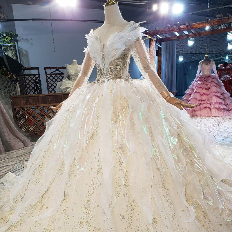 HTL1837 Luxurious Sequined Beading Wedding Dress 2020 V-Neck Three Quarters Sleeve Applique Ball Gowns Crystal 6