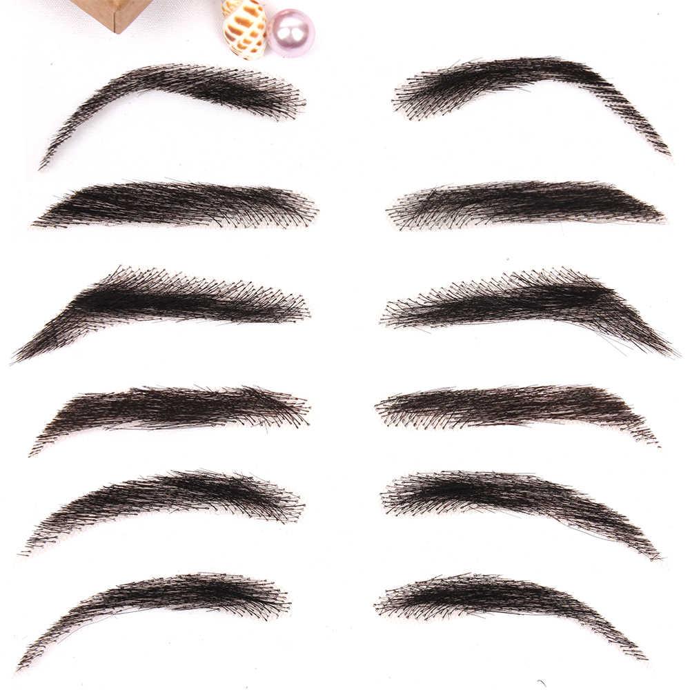 AIYEE dalga tarzı Eyebows Jolie tarzı sahte kaşları kadın sırma insan saçı sahte kaşları yapay dokuma kaş peruk