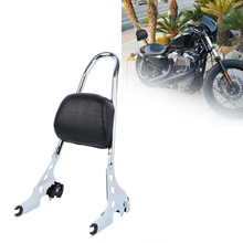 Samger For Sportster XL883 XL1200 XL 883 1200 48 Rack Sissy Bar Rear Passenger Backrest Cushion Pad Motorcycle Luggage Silver for harley sportster 1200 iron 883 roadster forty eight custom seventy two superlow motorcycle sissy bar passenger pad backrest