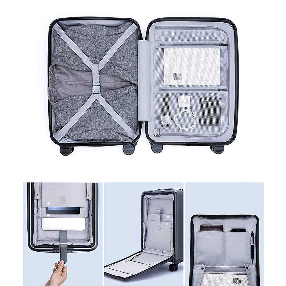 Ninetygo 90FUN Membawa Bagasi dengan Roda Spinner 20 Inch Koper Hardshell TSA Sesuai Koper Saku Depan Penutup Kunci