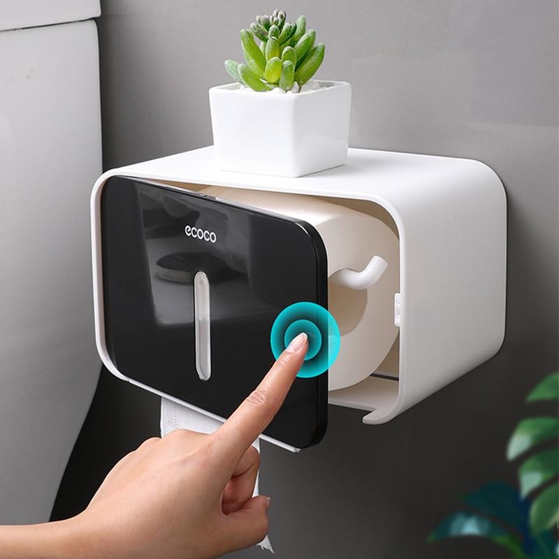 Waterproof Toilet Paper Holder Wall Mounted Toilet Tissue Dispenser Plastic Multi-function Portable Toilet Roll Holder Stand