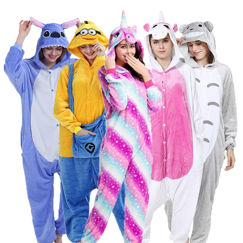 Flannel Animal Pajamas Set Women Cartoon Cute Warm Kigurumi Unicorn Stitch Totoro Onesies Girls Kids Pyjama Halloween Sleepwear
