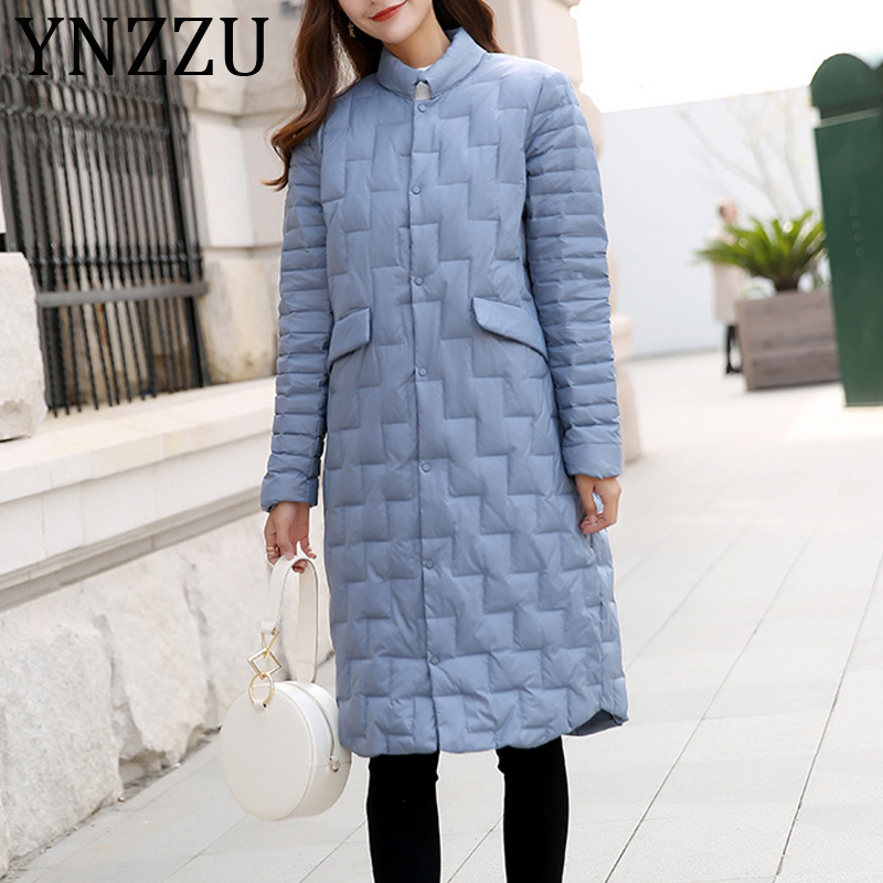 YNZZU 2019 Autumn Winter Ultra Light Duck   Down     Coats   Women Elegant Thin Long Stand Collar Single Breasted Female Jacket A1174