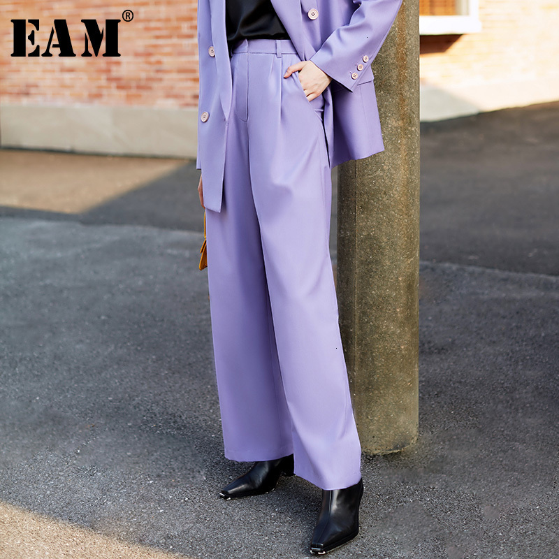 [EAM] High Waist Purple Pleated Split Joint Long Wide Leg Trousers New Loose Fit Pants Women Fashion Spring Autumn 2019 1H096
