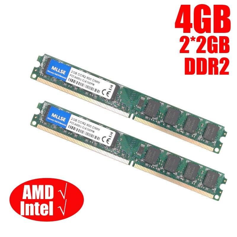 MLLSE DIMM DDR2 800 МГц/667 МГц 4 Гб (2 ГБ * 2 шт.) PC2 6400/PC2 5300 память для настольной оперативной памяти, хорошее качество и высокая совместимость!|Оперативная память|   | АлиЭкспресс